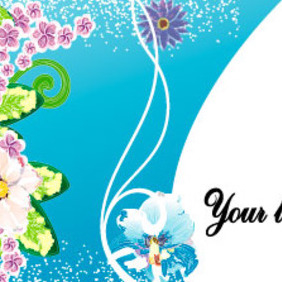 Blue Flowers Vector Art Card - vector gratuit #217837