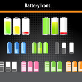 Battery Icons - Kostenloses vector #217867