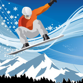 Snowboarding In The Mountains - vector gratuit #217927