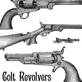 Colt Revolver Pistols - Kostenloses vector #218937