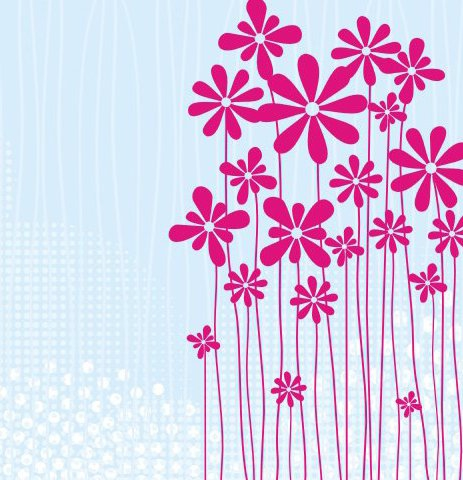 Flower meadow card - Free vector #219007