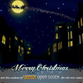 Christmas Night In The City - vector #219127 gratis