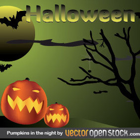 Halloween - Pumpkins In The Night - Free vector #219797