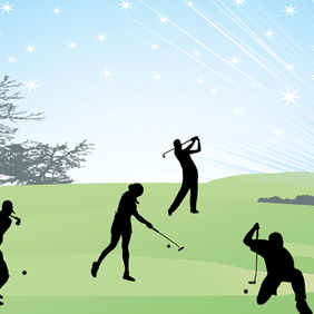 Vector Art Golf Silhouettes - vector #221277 gratis