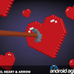 Vector 3D Pixel Heart And Arrow - Free vector #221667