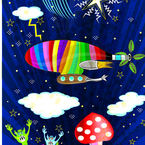 Cosmic Dream Blimp Vector - Free vector #222467
