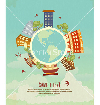 Free city stylized with buildings vector - Free vector #226907