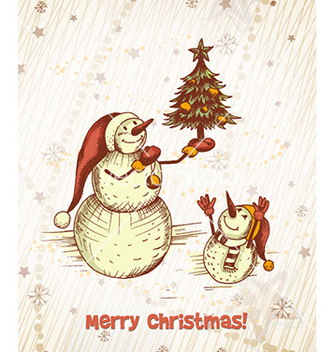 Free christmas with snow man and christmas tree vector - vector gratuit #228867