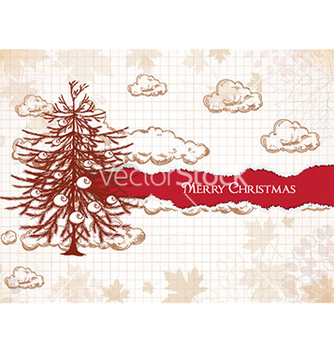 Free christmas with tree vector - vector gratuit #231427
