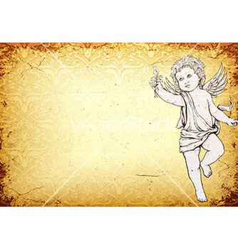 Free angel with damask background vector - Free vector #231827