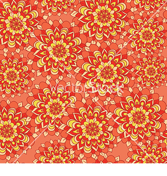 Free beautiful pattern with flowers on an orange vector - Free vector #233297