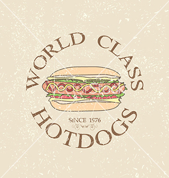 Free vintage world class hotdogs sandwich label stamp vector - vector gratuit #233727