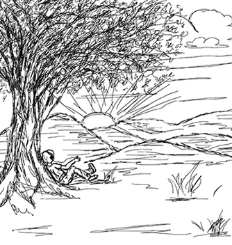 Free hand drawn of landscape with man resting under the vector - vector gratuit #233807