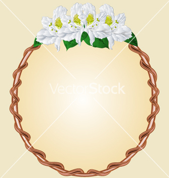 Free round frame with white rhododendron greeting card vector - Free vector #234517