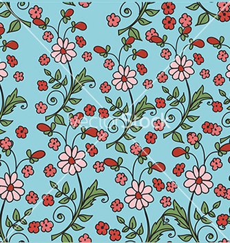 Free pattern with flowers on a blue background vector - Free vector #234617
