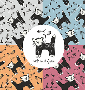 Free pattern with cat and fish vector - Free vector #234627