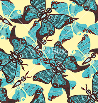 Free beautiful pattern with butterflies on a blue vector - Free vector #234637