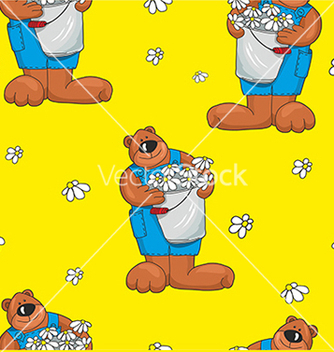 Free pattern with bears on a yellow background vector - Free vector #234647