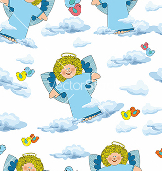 Free pattern with angels and clouds on a white vector - vector gratuit #234657