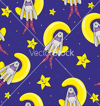 Free pattern with a rabbit and a star on a blue vector - Free vector #234667