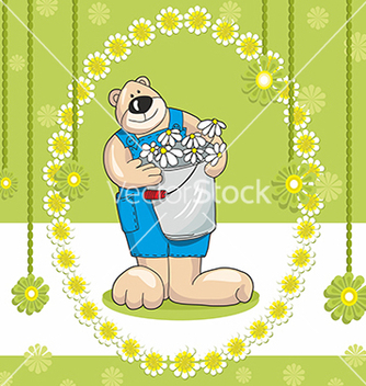 Free baby bear card and flowers on a green background vector - Free vector #234707