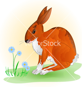 Free cheerful spring bunny hare with blue flowers vector - vector gratuit #234787