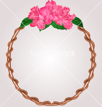 Free round frame with rhododendron greeting card vector - vector gratuit #234817