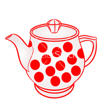 Free teapot with red dots part of porcelain vector - Free vector #234827
