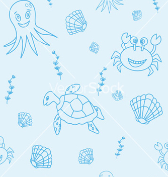 Free seamless pattern with hand drawn sea life vector - Free vector #235127