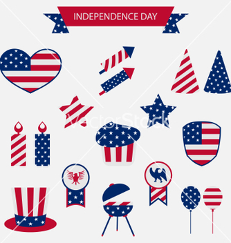 Free icons set usa flag color independence day 4th of vector - vector gratuit #235187