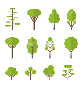 Free collection set flat icons tree garden bush vector - Kostenloses vector #235197