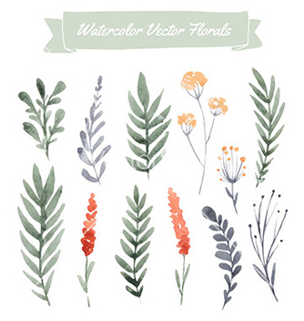 Free watercolor flowers vector - Free vector #235227