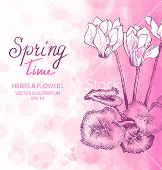 Free pink cyclamen greetings card vector - Free vector #235287