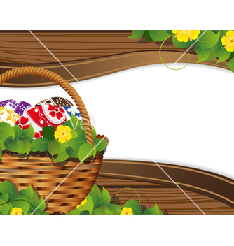 Free easter basket with painted eggs vector - vector gratuit(e) #235337
