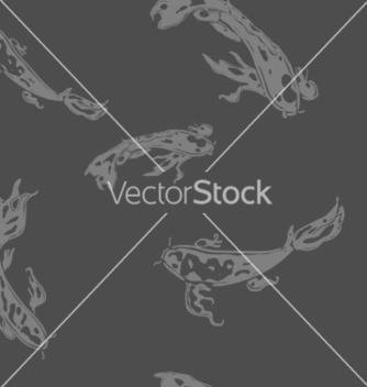 Free monochrome seamless pattern with koi carp vector - Free vector #235407