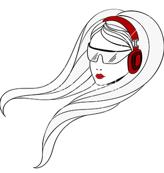 Free young women with red headphones vector - vector gratuit(e) #235417