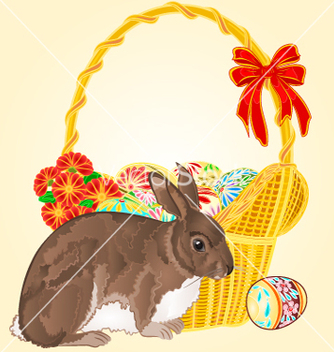 Free easter rabbit and easter wicker vector - vector gratuit(e) #235747