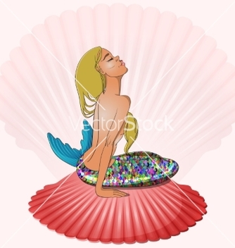 Free mermaid sitting on seashell vector - Kostenloses vector #235977