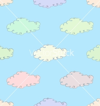 Free seamless symmetrical ornament with clouds vector - бесплатный vector #236237