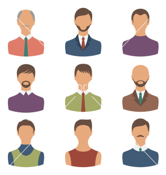 Free avatars set front portrait of males isolated on vector - Free vector #236417