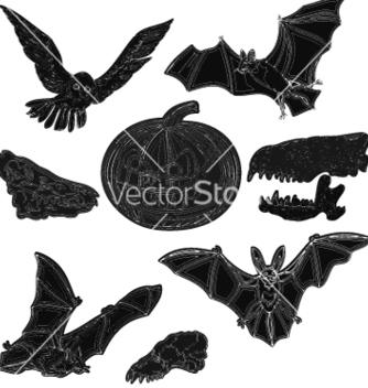 Free halloween symbols pumpkin skull bat owl vector - Free vector #236657