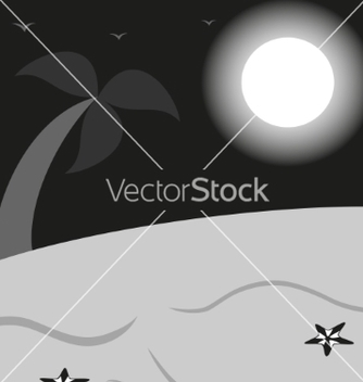 Free black and white landscape a beach with palm vector - Kostenloses vector #236957