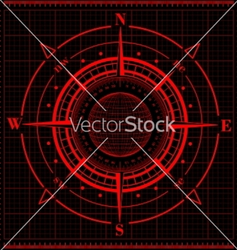 Free radar compass rose with globe vector - vector gratuit #237037