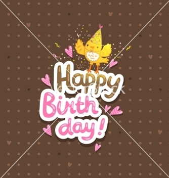 Free happy birthday postcard template with a bird vector - Kostenloses vector #237917