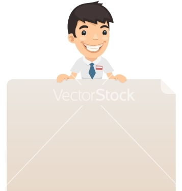 Free manager looking at blank poster on top vector - Free vector #238047