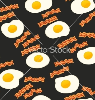 Free breakfast with bacon and eggs seamless pattern vector - Free vector #238057