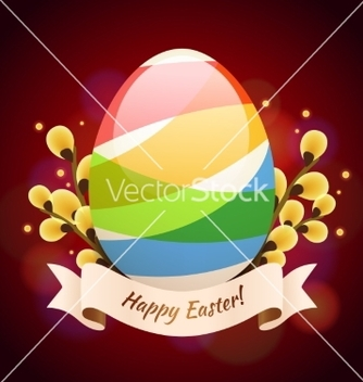 Free happy easter greening card with colored egg vector - vector gratuit #238107