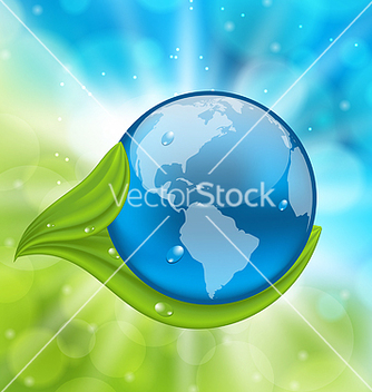 Free planet earth with green leaves vector - Free vector #238327