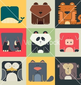 Free set flat square icons of a cute animals vector - Free vector #238467