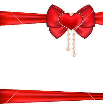 Free red bow with heart and pearls for packing gift vector - Free vector #238687